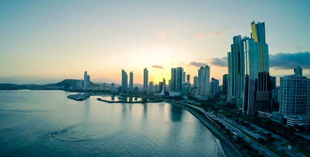 Freightened Panama City skyline